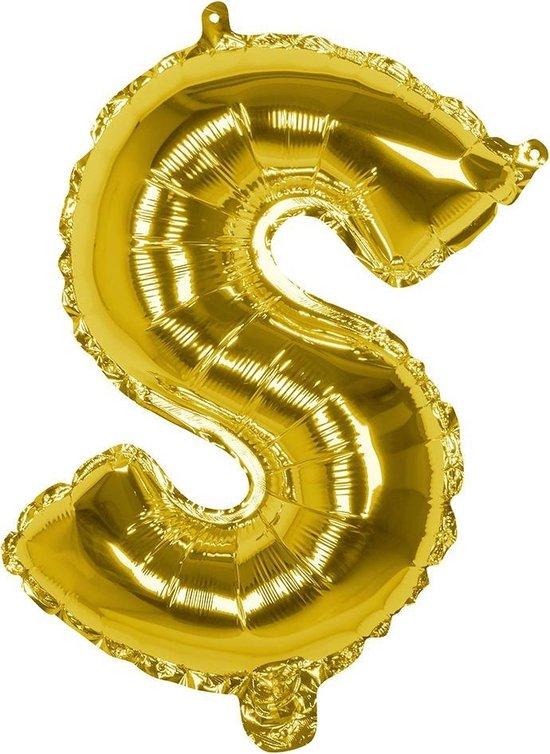 Boland Folieballon Letter S 36 Cm Goud