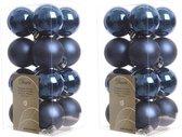 32x Donkerblauwe kunststof kerstballen 4 cm - Mat/glans - Onbreekbare plastic kerstballen - Kerstboomversiering donkerblauw