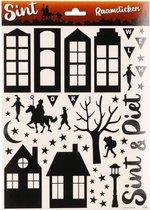 Sinterklaas raamstickers zwart  - Raam decoratie/versiering Sint en Piet stickers op vel A4 formaat