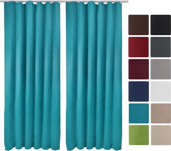 Beautissu Verduisterende Gordijnen Blackout Curtains met Plooiband - Blackout Gordijnen Verduisterend  Set van 2 - Amelie Nora BK - 140x245cm Turquoise