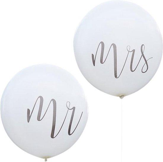 Reuzeballonnen Wit Mr & Mrs- 2 stuks