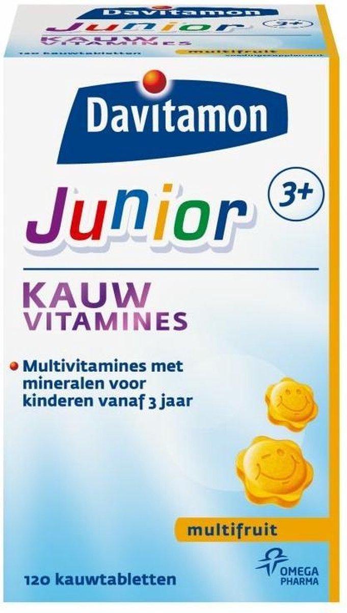 Davitamon Junior 3+ Kauwvitamines - multivitamine kinderen - multifruit - 120 tabletten