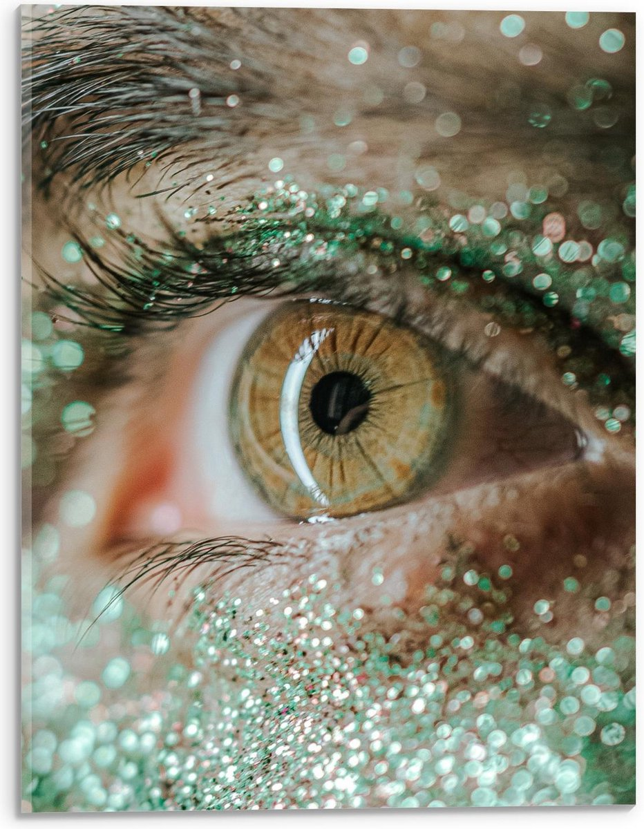 Plexiglas - Groen oog met Groene Make-Up Glitters - 30x40cm Foto op Plexiglas (Met Ophangsysteem)