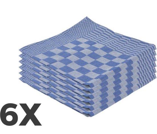 Theedoeken set - 65 x 65 cm - geblokt blauw - set van 6