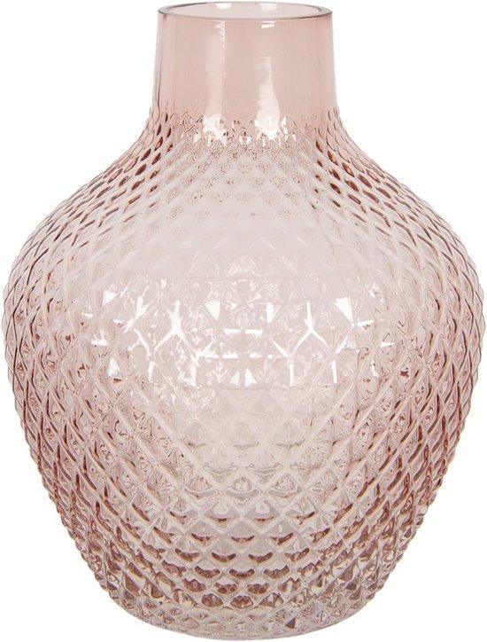 Clayre & Eef Vaas 6GL2936P Ø 16*20 cm - Roze Glas Glazen VaasBloempot Binnen
