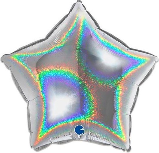 Folieballon ster glitter zilver (46cm)