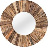 PTMD TeakMosaic Natural wooden mirror round - Bruin