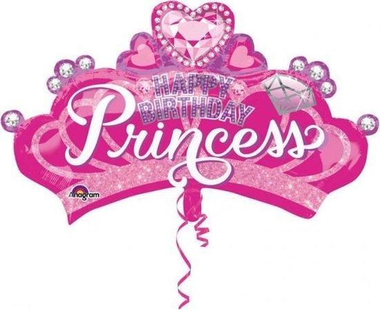 Anagram Folieballon Happy Birthday Princess 81 X 48 Cm Roze