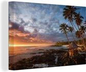 Strand zonsondergang 60x40 cm - Foto print op Canvas schilderij (Wanddecoratie woonkamer / slaapkamer) / Zee en Strand