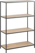 Sea boekenkast met 2 planken in wild eiken decor en zwart metaal onderstel.