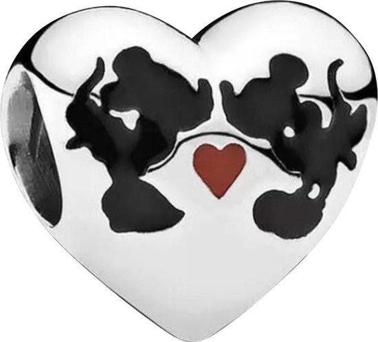Zilveren Bedels Disney | Bedel Mickey en Minnie | KUS Hart! | 925 Sterling Zilver | Bedels Charms Beads | Past altijd op je Pandora armband | Direct snel leverbaar | Miss Charming