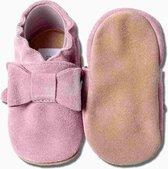 Hobea - babyslofjes - suede - roze met strik