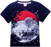 T-shirt Poke Ball - navy - maat 140 - Pokémon - kinderen - kleding - mode - korte mouw