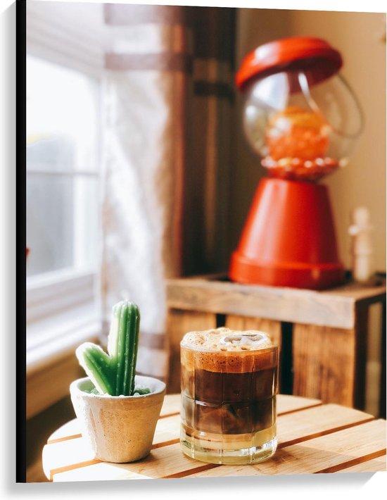 Canvas  - Drankje + Cactus op Tafel  - 75x100cm Foto op Canvas Schilderij (Wanddecoratie op Canvas)