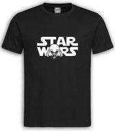 """Zwart T shirt met Wit logo """" Star Wars Darth Vader """" Size M"""
