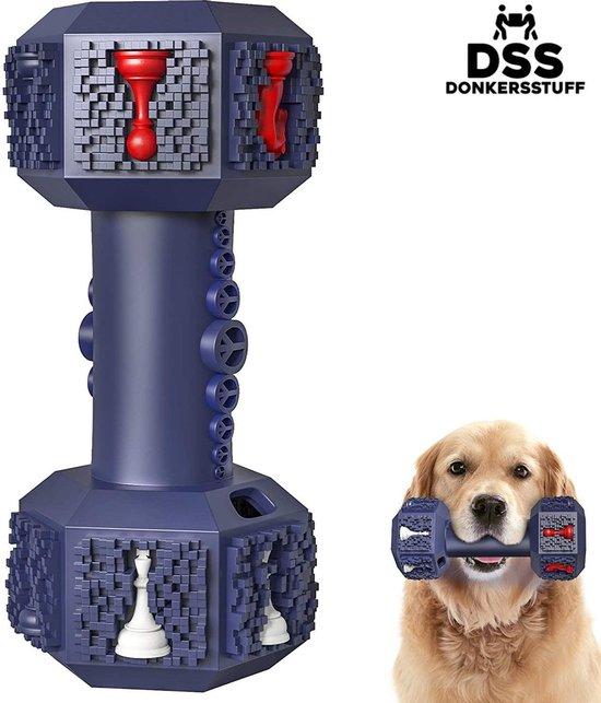 Honden speelgoed -Dumbbell -Geschikt voor kleine en middelgrote honden- Tanden schoonmaken- Kauwen- Haltervorm- Blauw- Natuurrubber met Ananas smaak