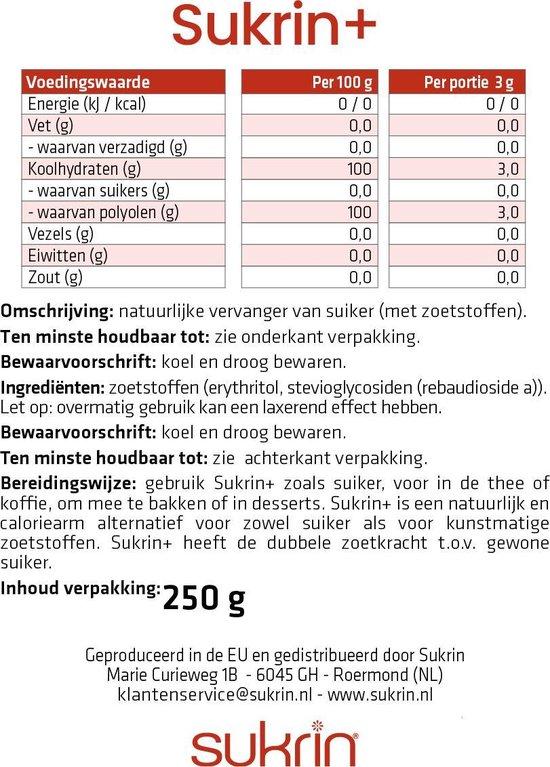 Sukrin+ (250g) - Bevat Erythritol - 100% natuurlijke suikervervanger - 2x zo zoet als gewone suiker