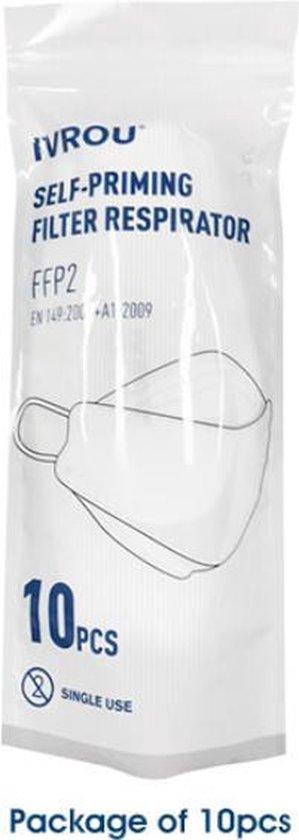 Afbeelding van 10 Stuks | FFP2 Medische Mondkapjes | Ivrou IRYS-02 Getest & Gecertificeerd | Zak Met 10 x Medisch Mondkapje | FFP2 Mondkapjes Medisch | Medisch Mondmasker FFP2 | Medische FFP2 Mondmaskers | Medical Face Masks 10 Pieces