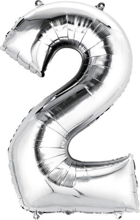 Helium ballon - Cijfer ballon - Nummer 2 - 2 jaar - Verjaardag - Zilver - Zilveren ballon - 80cm