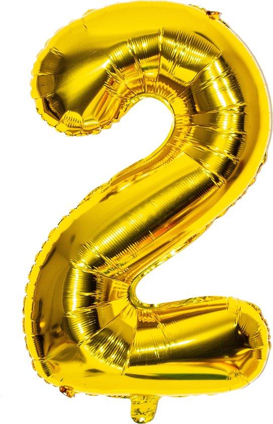Folieballon / Cijferballon Goud XL - getal 2 - 82 cm