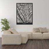 Utrecht - Houten Kaart Stad | Groot 80x60cm | Zwart Hout | Plattegrond Stadskaart Prent Print Poster | City Map | Landkaart | Stad | Wijk