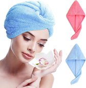 Microvezel haar handdoek | 2 stuks | Haartulband | Ideaal voor snel drogen kort en lang haar | Blauw