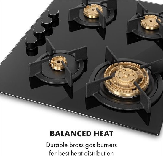 Klarstein Goldflame 4 gaskookplaat 4-pits messing-brander keramisch glas zwart