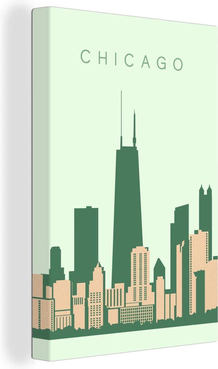 Canvas Schilderijen - Skyline Chicago in de staat Illinois - 60x90 cm - Wanddecoratie