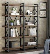 Industrieel Wandkast/Boekenkast /Open vakkenkast met massief hout en Metaal      A1001