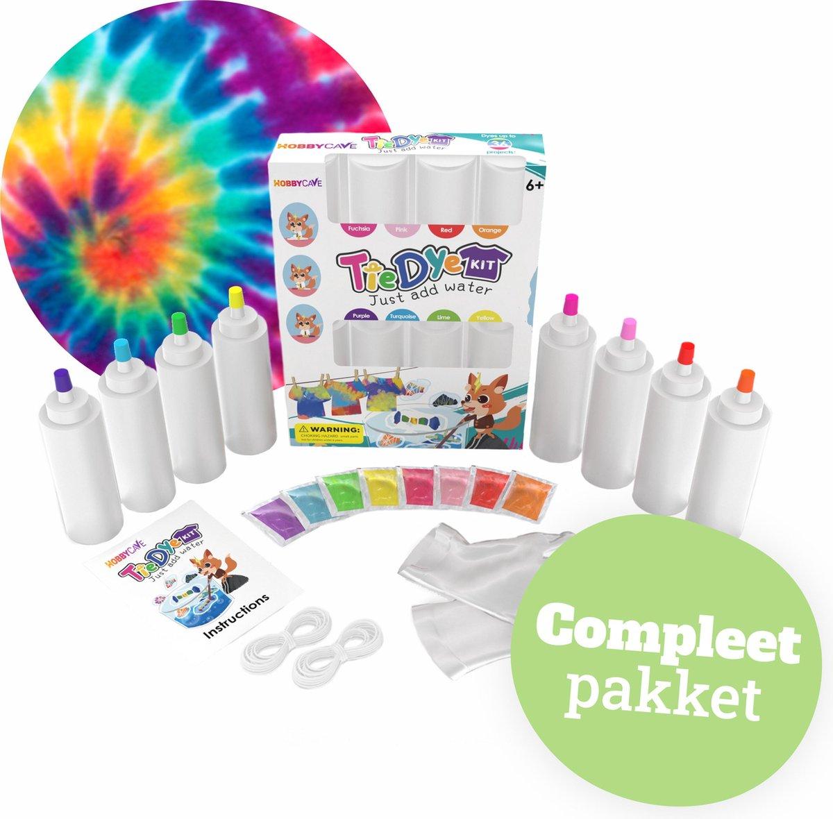 Tie Dye Kit - Verf - 8 Kleuren van 120ml - 36 projecten – Textielverf set - Complete Set -Hobbycave
