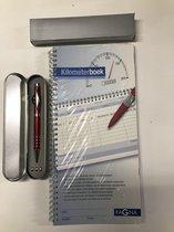 Pagna kilometerregistratieboek | kilometer registratieboek | kilometerboek 40 vel 40 bladzijden in tweevoud, op zelf doorschrijvend papierincl. rode blauwschrijvende (laser)pen met ledlampje.