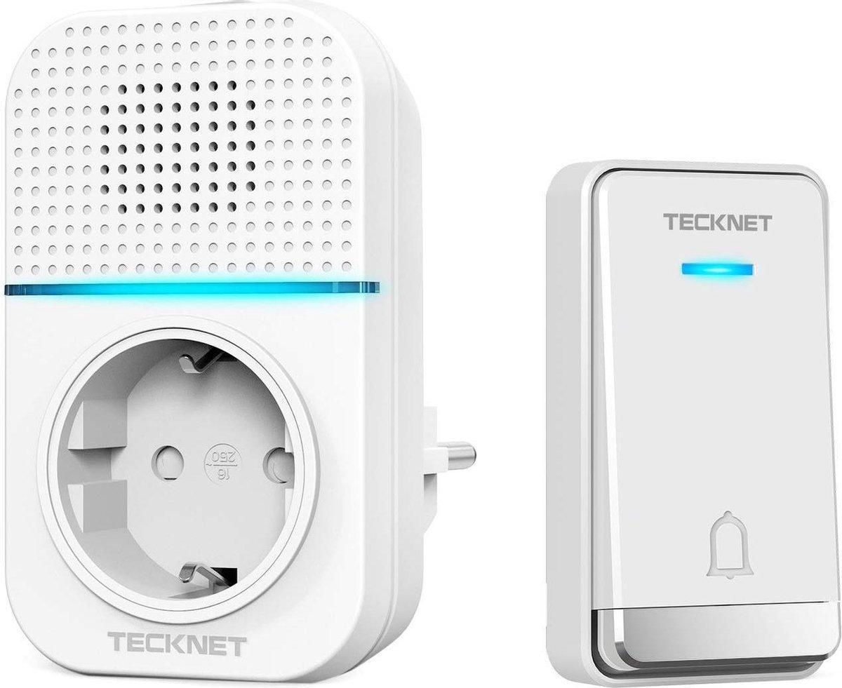 Tecknet draadloze deurbel met 1 ontvanger inclusief stopcontact   Duurzame zender zonder batterijen