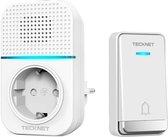 Tecknet draadloze deurbel met 1 ontvanger inclusief stopcontact | Duurzame zender zonder batterijen