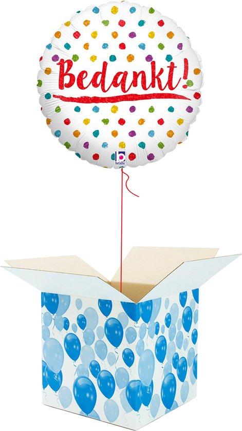 Helium Ballon gevuld met helium - Bedankt! - Cadeauverpakking - Confetti - Folieballon - Helium ballonnen gevuld