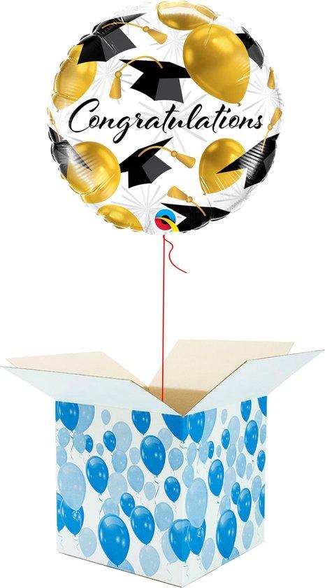 Helium Ballon gevuld met helium - Congratulations! - Cadeauverpakking - Gefeliciteerd - Geslaagd - Folieballon - Helium ballonnen gevuld