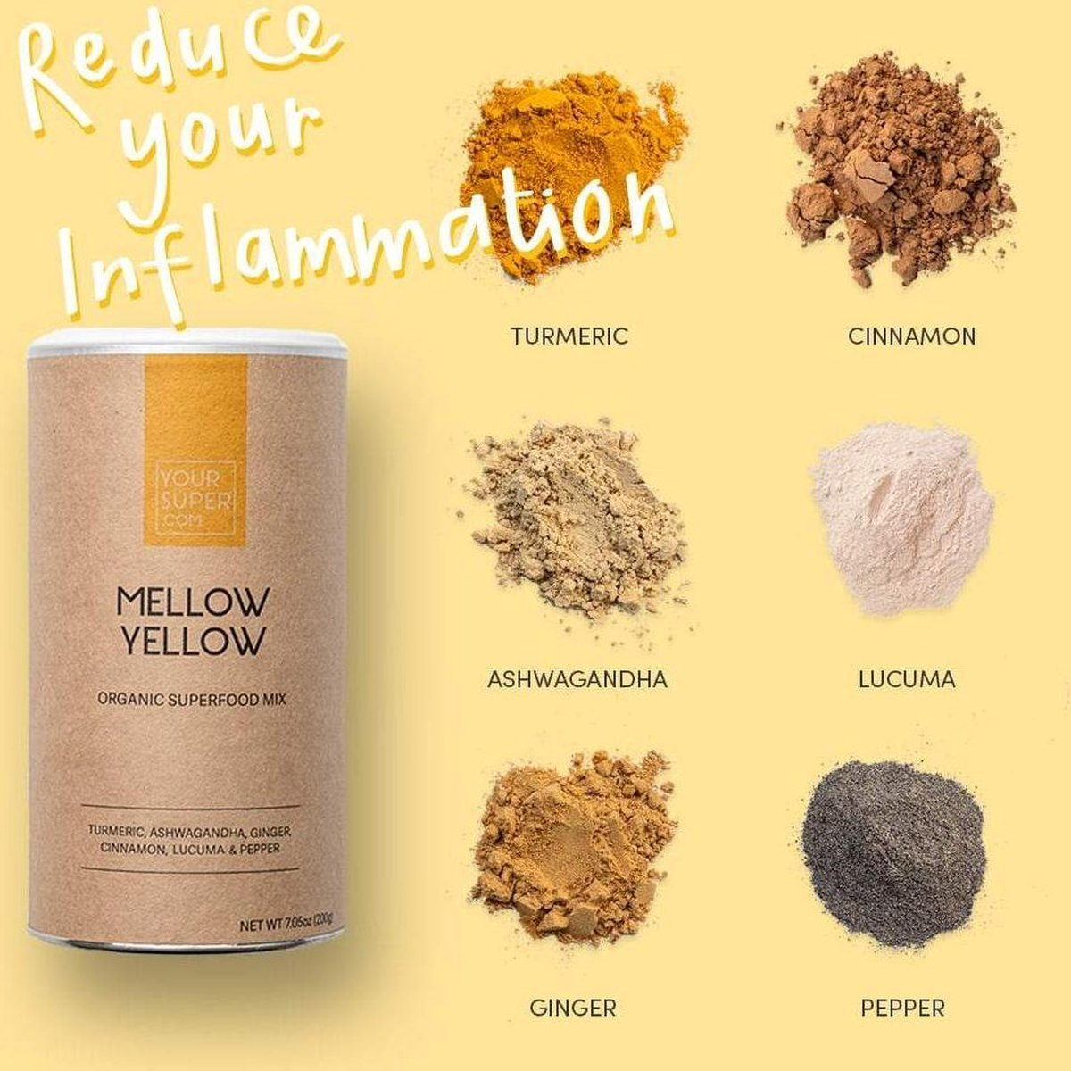 Your Super - GOLDEN MELLOW - Organic Superfood Mix - Plantaardig - Ontspanning - Goed bij Artrose