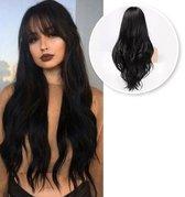SassyGoods® Zwarte pruik - Pony - Pruiken Dames - Wig - Verstelbaar - Lang Golvend Haar - Zwart - 70 cm