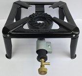 Wokbrander 30 X 30 cm - Gasbrander - Camping kooktoestel compleet met slang en drukregelaar - Zwart