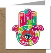 Tallies Cards - greeting - ansichtkaarten - Good Luck - Primo  - Set van 4 wenskaarten - Inclusief kraft envelop - succes - geluk - wens - 100% Duurzaam