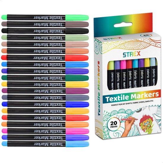 Afbeelding van Strex Textielstiften - 20 stuks - Kleding stiften - Textielmarkers - Textiel Stiften