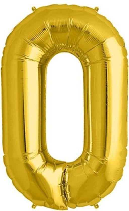 Helium ballon - Cijfer ballon - Nummer 0 - 0 jaar - Verjaardag - Goud - Gouden ballon - 80 cm
