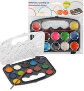 Waterverf set voor Kinderen - Palet 12 Kleuren