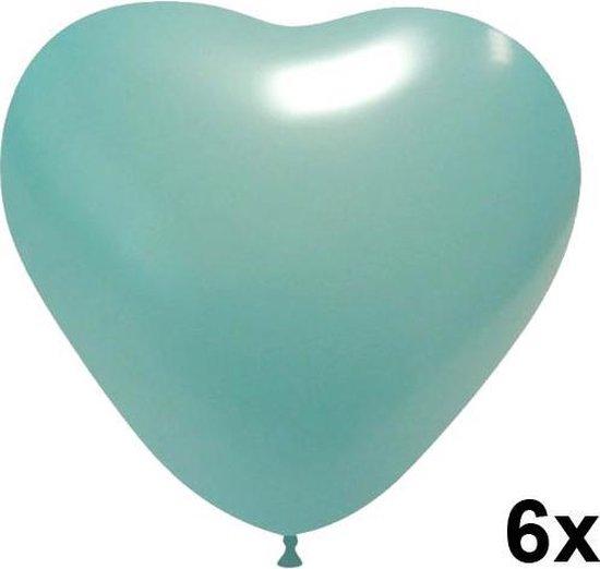 Hartjes ballonnen lichtblauw, 6 stuks, 28cm