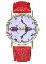 Hidzo Horloge Pijl en Boog Ø 38 - Rood - Kunstleer - In Horlogedoosje