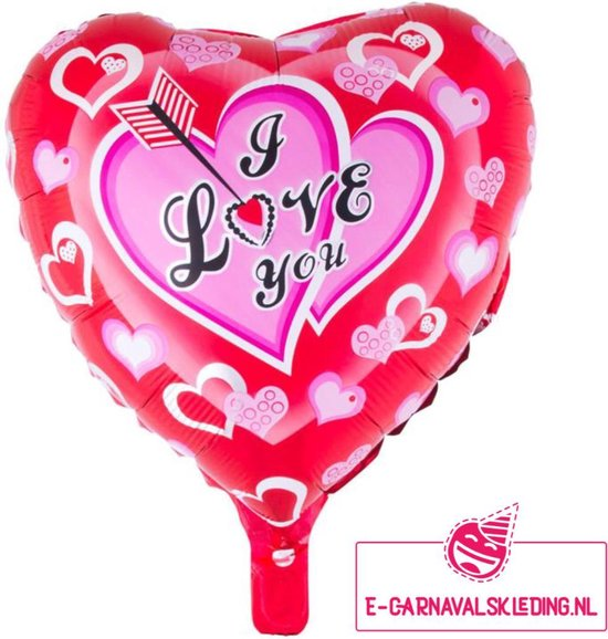 Folie ballon  hart I Love You voor Valentijnsdag of andere liefde volle momenten 52x46cm