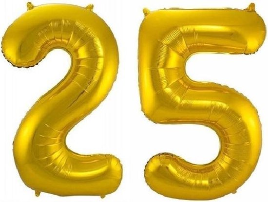 Folie ballon cijfer 25 jaar – 80 cm hoog – Goud - met gratis rietje – Feestversiering – Verjaardag – Bruiloft