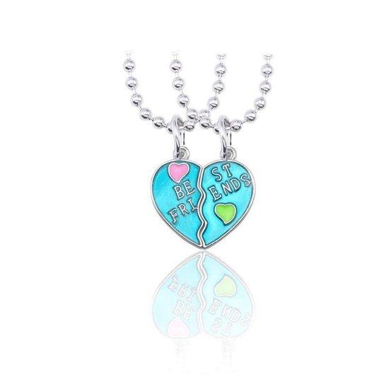 Kasey - Vriendschapsketting - BFF ketting voor 2 - Best friend hart - Blauw met hartjes