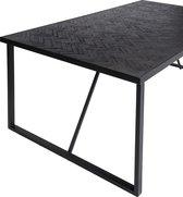 Duverger® Herringbone - Eettafel - zwart - visgraat parket - metalen frame - rechthoek - 200x100