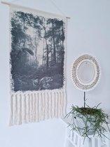 Wandkleed Jungle of Mystery - 50x95cm - Katoen - Handgeknoopt - Wanddecoratie - Muurdecoratie - Wandtapijt - Natuur - Decoratie Woonkamer - Slaapkamer - Smith Premium®