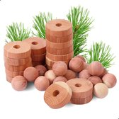 AWEMOZ® Premium 40 Stuks Cederhout pakket tegen Motten / Insecten - Mottenballen - Motten Bestrijden – Mottenval - Verfrissende Geur